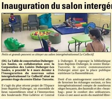 On parle du Salon intergénérationnel Le Collectif dans le Journal Des Rivières!
